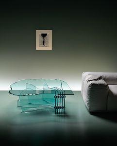 mesa de centro de diseño original / de vidrio / con base curvada / de interior