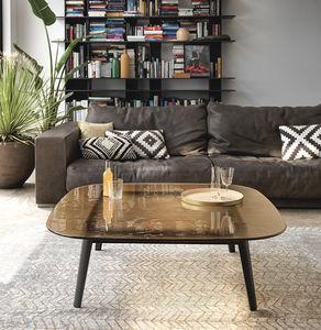mesa de centro contemporánea / de madera maciza / de roble natural / de vidrio templado