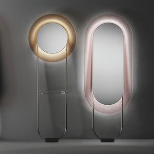 espejo de pie / con luz LED / contemporáneo / redondo