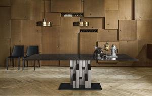 mesa de diseño original / de vidrio / con base metálica pintada / rectangular