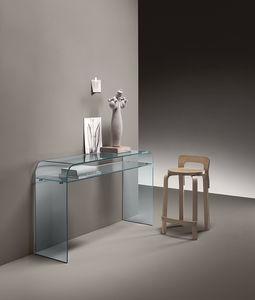 consola contemporánea / de vidrio curvado / con base curvada / rectangular