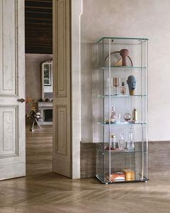 vitrina contemporánea / de vidrio / de aluminio / con luz