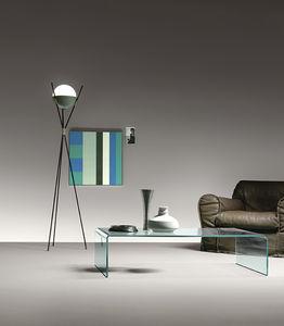 mesa de centro contemporánea / de vidrio curvado / con base curvada / rectangular