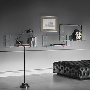 estantería mural / contemporánea / de vidrio curvado / para salón