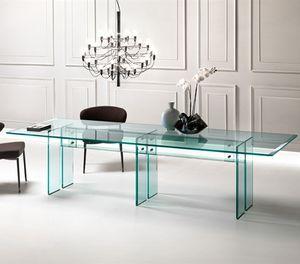 mesa de comedor contemporánea / de vidrio / rectangular / transparente
