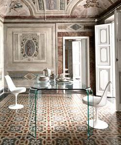 mesa de comedor contemporánea / de vidrio curvado / rectangular / curvada