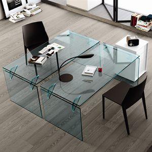 escritorio de acero / de aluminio / de vidrio templado / contemporáneo