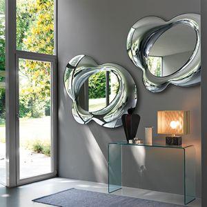 espejo de pared / suspendido / contemporáneo / plateado