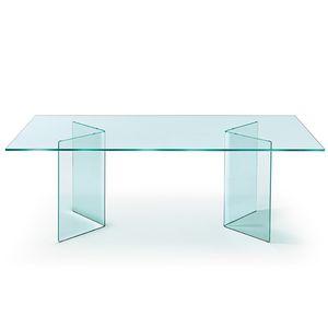 mesa de comedor contemporánea / de vidrio curvado / rectangular / redonda