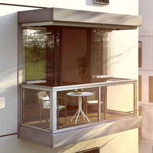 ventana-balcón corredero apilable / de aluminio / acústico / anticongelante