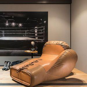 diván de diseño original / de cuero / de metal / para salón