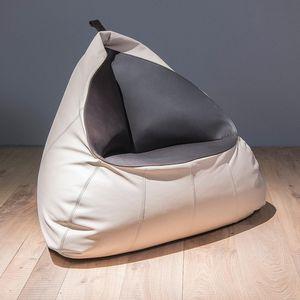 sillón pera contemporáneo / de cuero / gris / azul