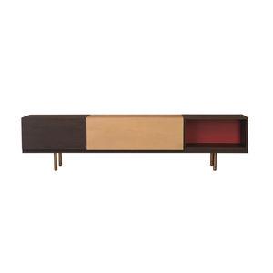 mueble de televisión contemporáneo / modular / de fresno