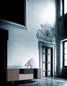 mueble de televisión contemporáneo / modular / de fresno / de vidrio