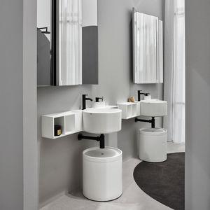 lavabo doble / suspendido / redondo / de cerámica