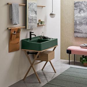 mueble de lavabo de pie / de madera / de cerámica / de metal