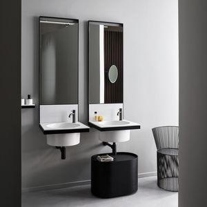 mueble de lavabo doble / suspendido / de cerámica / de metal