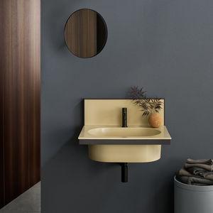 mueble de lavabo suspendido / de cerámica / de metal / contemporáneo