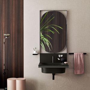 mueble de lavabo suspendido / de cerámica / contemporáneo / con espejo luminoso