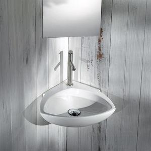 lavabo suspendido / de esquina / de cerámica / contemporáneo