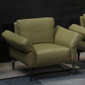 sillón contemporáneo / de cuero / verde