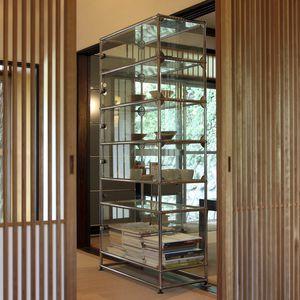 vitrina contemporánea / de vidrio / de metal