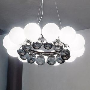 lámpara araña de diseño original / de vidrio soplado / de cromo