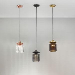 lámpara suspendida / contemporánea / de metal / de vidrio soplado