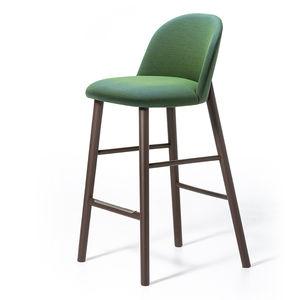 silla de bar de diseño escandinavo / tapizada / con reposapiés / de terciopelo