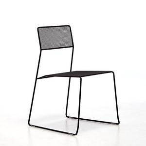 silla contemporánea / apilable / patín / de malla