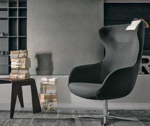 sillón contemporáneo / de tejido / con orejas / con patas en forma de estrella