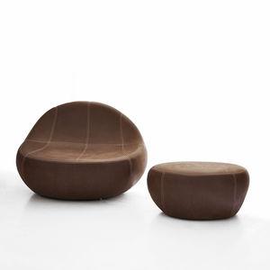 sillón de diseño orgánico / de tejido / de cuero / con reposapiés