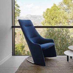 sillón contemporáneo / de tejido / de cuero / con reposacabezas