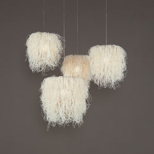 lámpara suspendida / de diseño original / de acero inoxidable / hecha a mano