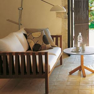 sofá contemporáneo / de jardín / de tejido / de teca