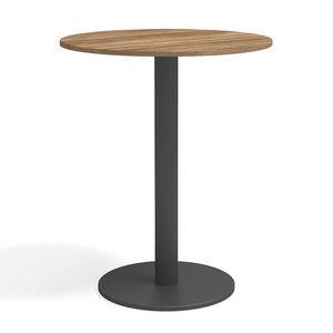mesa alta contemporánea / de teca / de acero con revestimiento en polvo / de HPL