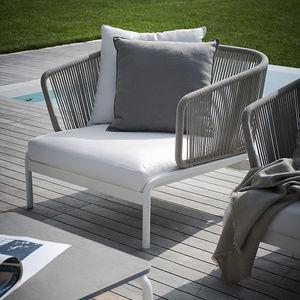 sillón contemporáneo / de tejido / de acero inoxidable / de metal pintado