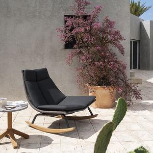 sillón bajo contemporáneo / de tejido / de acero inoxidable / mecedor