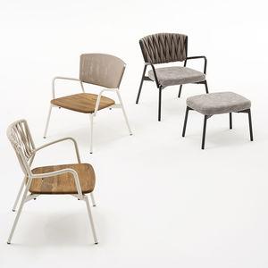 sillón contemporáneo / de textil / de teca / de aluminio