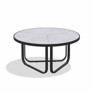 mesa de centro contemporánea / de arenisca / de gres esmaltado / con base de aluminio lacado