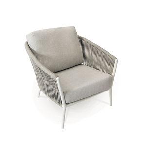 sillón contemporáneo / de tejido / de acero inoxidable / de cuerda