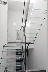 escalera recta / en U / estructura de vidrio / con peldaños de vidrio