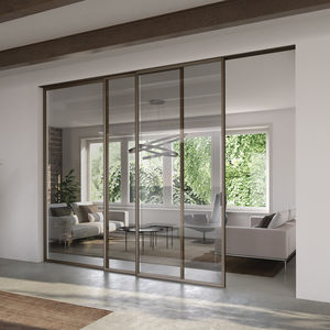puerta de interior / corredera apilable / de aluminio / acristalada