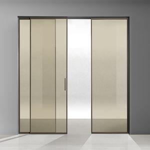 puerta de interior / corredera / de aluminio / de vidrio