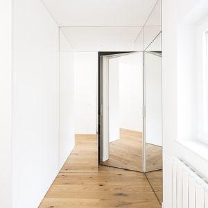 puerta de interior / abatible / de madera / acristalada