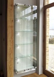 vitrina contemporánea / de pared / de vidrio / de acero inoxidable
