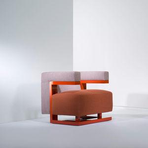 sillón de diseño Bauhaus / de tejido / de fresno / gris