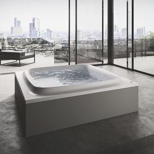 bañera independiente / cuadrada / de fibra acrílica / doble