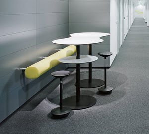 mesa alta contemporánea / de madera / de metal / redonda
