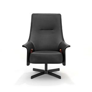 sillón contemporáneo / de cuero / de tejido / de acero inoxidable